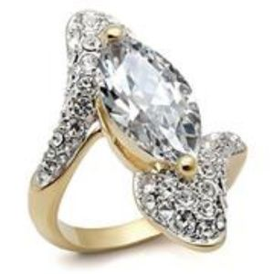 Clear Gold Marquise CZ Ring
